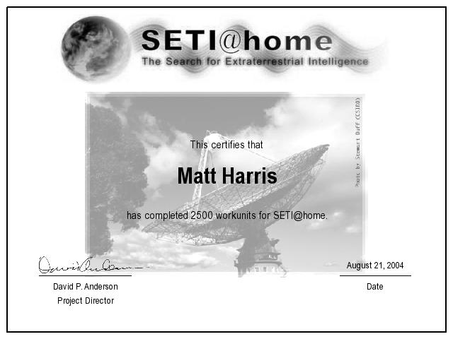 SetiAtHome 2500 Work Unit Certificate For Matt Harris